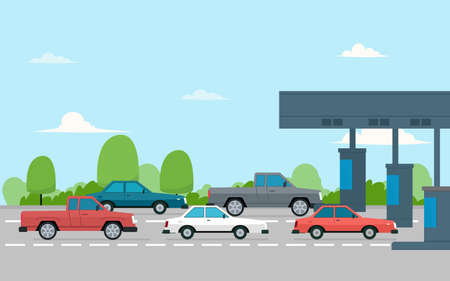 plaza de peaje con autos. Ilustración de vector aislado sobre fondo blanco.