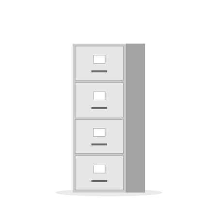 File cabinet with four drawer. Vector image isolated on white background Ilustração