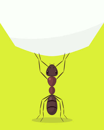 Ant lifting huge weight. Vector illustration Illustration