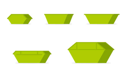Green waste skip bin icon set. Vector image isolated on white background