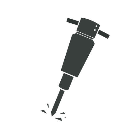 Cartoon pneumatic hammer. Vector silhouette isolated on white background  イラスト・ベクター素材