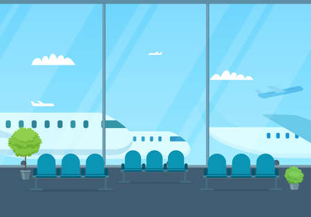 Airport lounge. View of the runway. Vector image Vektorové ilustrace