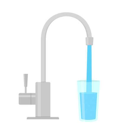 Wasserhahn Wasserfilter. Vektorbild isoliert auf weißem Hintergrund