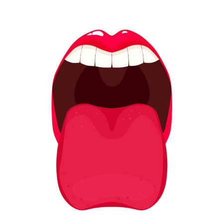 Open Mouth with tongue.Clipart image isolated on white background