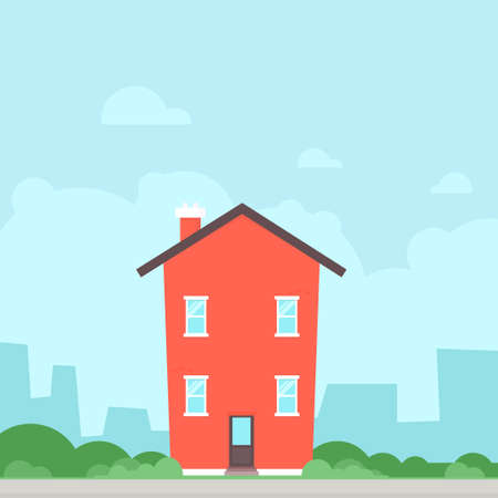 Red flat house icon. Clipart image