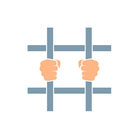 Hands behind bars. Prison clipart isolated on white background Illustration