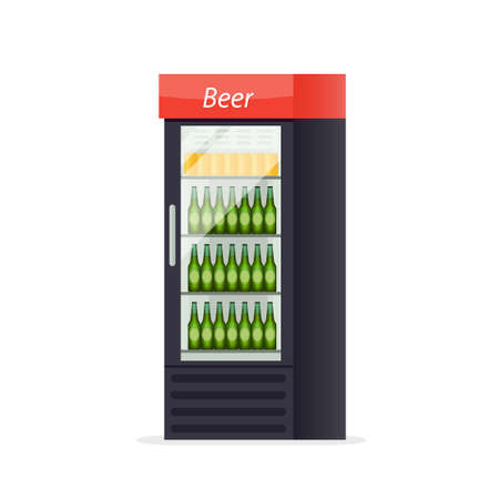 Beer fridge icon. Market clipart isolated on white background