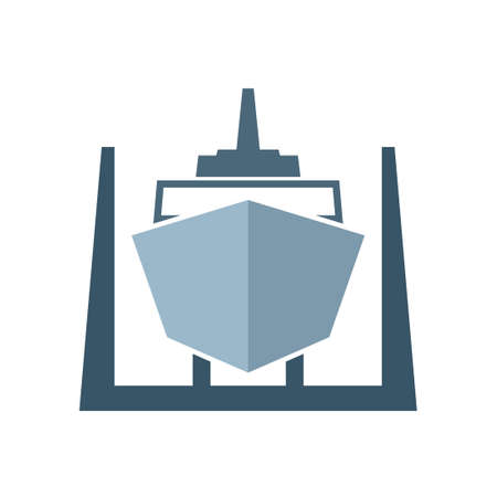 Ship in dry dock icon. Clipart image isolated on white background Vector Illustration