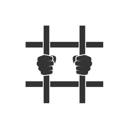 Hands behind bars. Prison clipart isolated on white background Ilustração