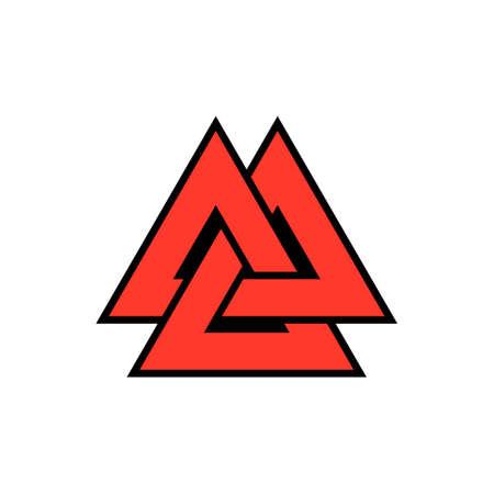 Icône rouge de Viking Valknut. Image clipart isolé sur fond blanc