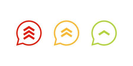 Conjunto de iconos de prioridad alta media baja. Imagen de imágenes prediseñadas aislada sobre fondo blanco