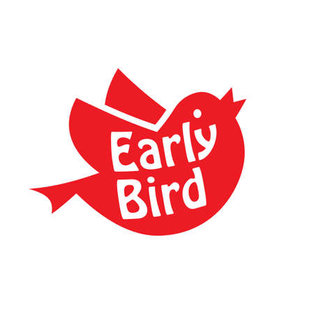 Early bird red icon. Clipart image isolated on white background
