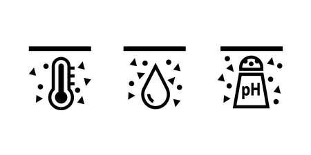 Soil ph testing icon set. Clipart image isolated on white background Illustration