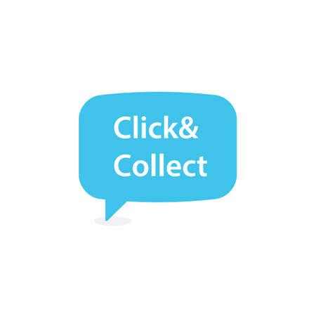 Click and collect speech bubble icon. Clipart image isolated on white background