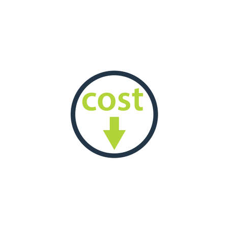 Cost decrease icon. Clipart image isolated on white background