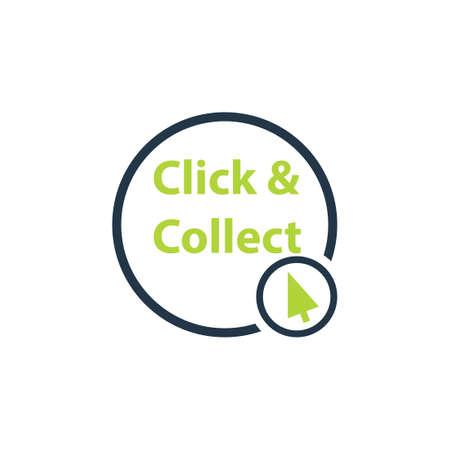 Klicken Sie auf das Symbol und sammeln Sie es. Clipart-Bild isoliert auf weißem Hintergrund Vektorgrafik