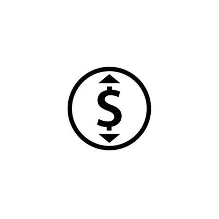 Change price black outline icon. Clipart image isolated on white background