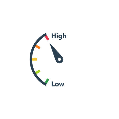 High low risk gauge icon. Clipart image isolated on white background Ilustrace