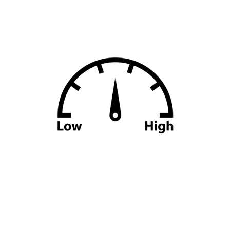 High low risk gauge black icon. Clipart image isolated on white background Ilustrace