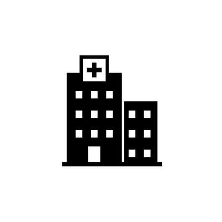 Hospital silhouette icon. Clipart image isolated on white background Ilustração