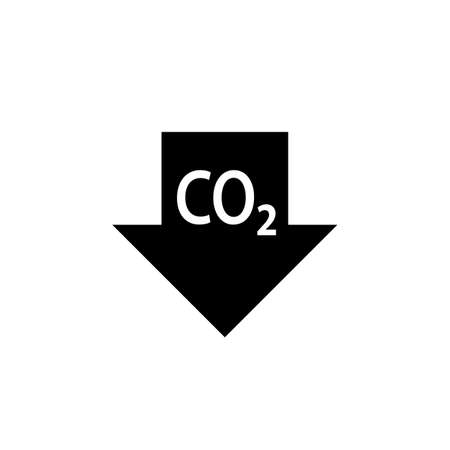 CO2 reduction black arrow icon. Clipart image isolated on white background
