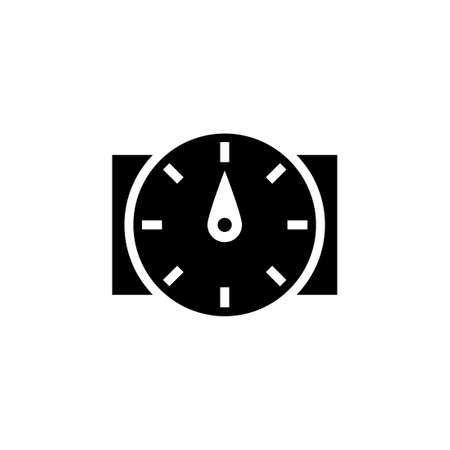 Water flow sensor silhouette icon. Clipart image isolated on white background
