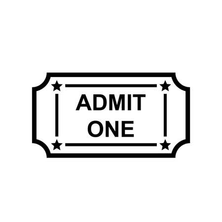 Admit one ticket outline icon. Clipart image isolated on white background
