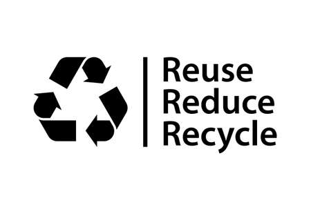 Reduce Reuse Recycle poster. Recycling symbol with text isolated on white background