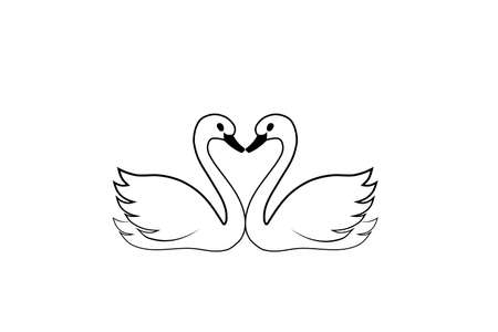 Two swans with heart outline icon. Clipart image isolated on white background
