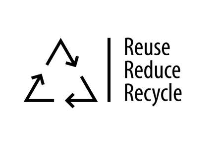Reduce Reuse Recycle poster. 3 Rs image isolated on white background