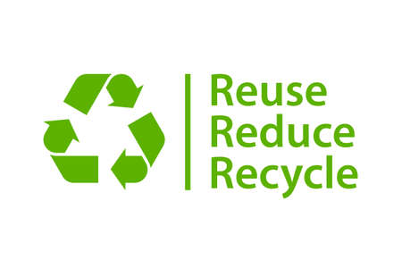 Reduce Reuse Recycle green poster. Clipart image isolated on white background 일러스트