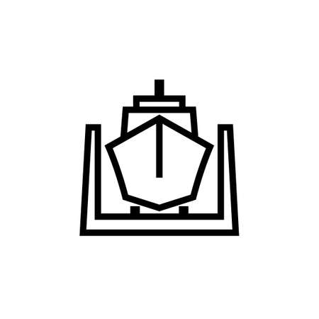 Ship in dry dock outline icon. Clipart image isolated on white background