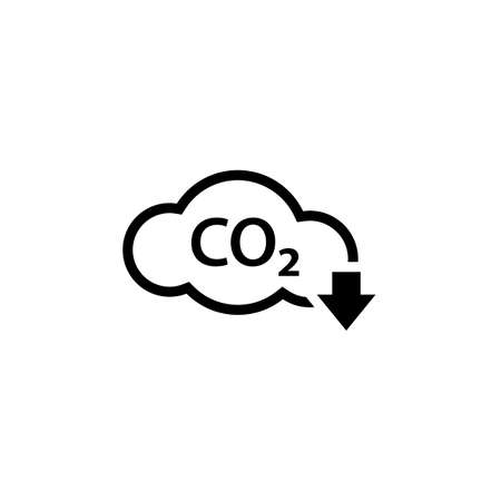 CO2 reduction outline cloud icon. Clipart image isolated on white background
