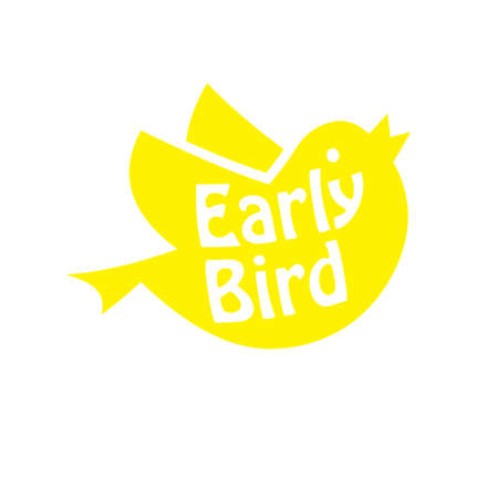 Early bird yellow icon. Clipart image isolated on white background