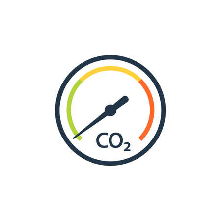 CO2 reduction gauge icon. Clipart image isolated on white background 일러스트