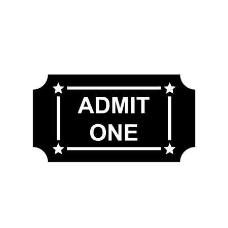 Admit one ticket silhouette icon. Clipart image isolated on white background