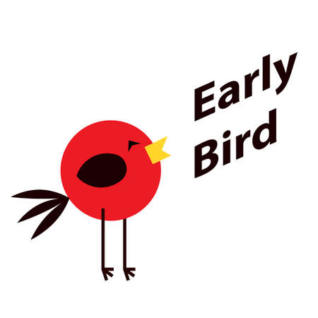 Early bird poster. Clipart image isolated on white background 向量圖像