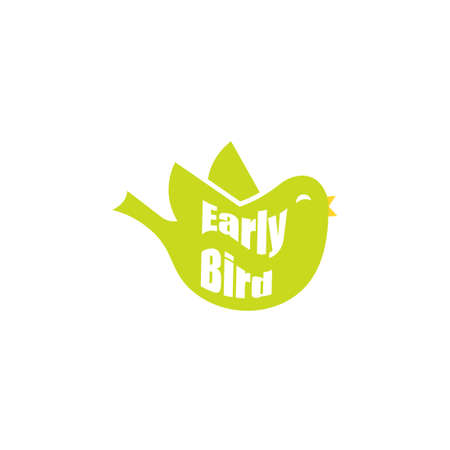 Early bird green icon. Clipart image isolated on white background