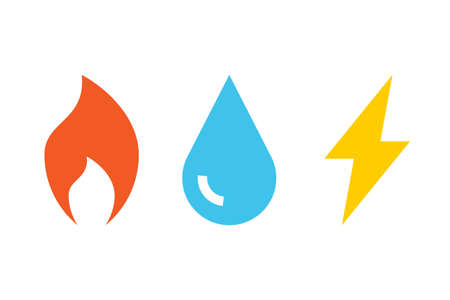 Gas Water Electricity icons. Clipart image isolated on white background