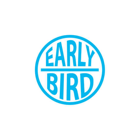 Early bird blue stamp. Clipart image isolated on white background