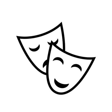Theater masks outline icon. Clipart image isolated on white background
