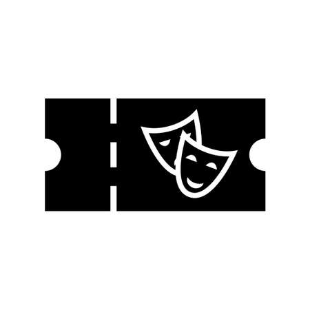 Theatre ticket silhouette icon. Clipart image isolated on white background