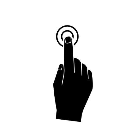 Hand pressing doorbell button silhouette icon. Clipart image isolated on white background. Illustration
