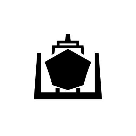 Ship in dry dock black icon. Clipart image isolated on white background