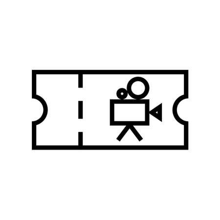Cinema ticket outline icon. Clipart image isolated on white background Illustration