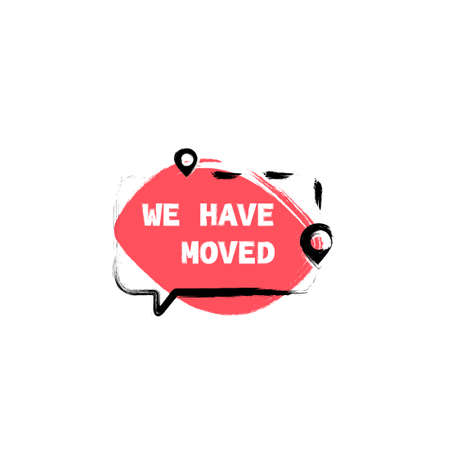 We have moved. Moving Announcement. Clipart image isolated on white background Vector Illustratie