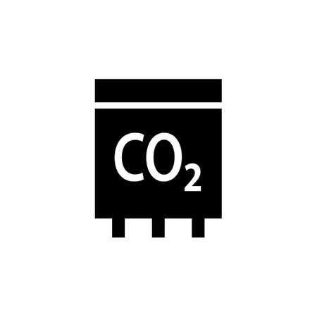 Sensor CO2 black icon. Clipart image isolated on white background Vectores