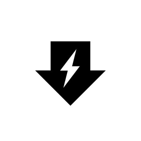 Energy reduction black arrow icon. Clipart image isolated on white background