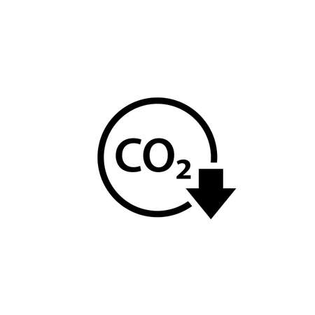 CO2 reduction outline icon. Clipart image isolated on white background