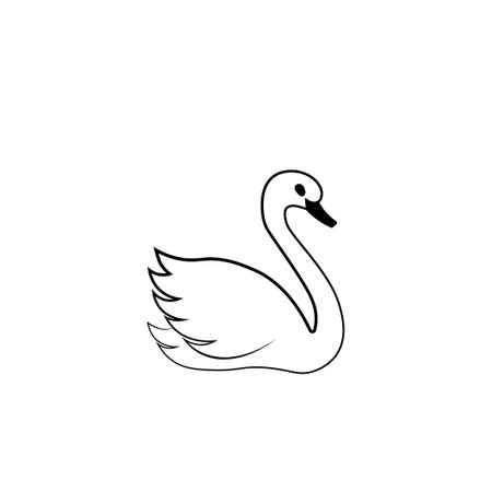 Swan outline icon. Clipart image isolated on white background